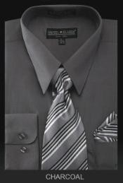 PREMIUM TIE - Charcoal Mens Dress Shirt