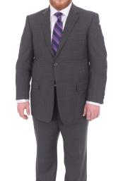 Mix and Match Suits Mens Portly Fit Charcoal Gray Checked Pattern 2