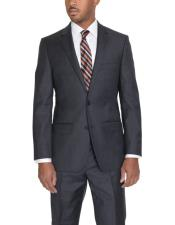 2 Button Classic Fit Wool Single Breasted Suit Charcoal Gray