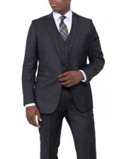 Charcoal Gray Pindot Slim Fit Wool 3 Piece Vested Suit Flat