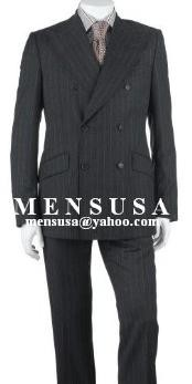 Charcoal Gray Pinstripe Double Breasted Suits Worsted Wool