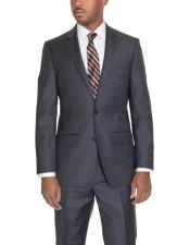 Mens Solid Charcoal Gray 2 Button Wool Classic Fit - Color: Dark
