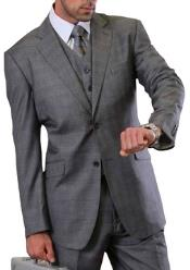 Mens 2 button Vested windowpane Pleated Pant Suit Charcoal