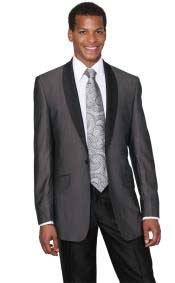 Charcoal Shawl Collar Regular Fit Dinner Jacket looking Two Toned Black Lapel + Free Pants Cheap Priced