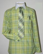 Checker Pattern Dress Fashion Shirt/ Tie / Hanky Set With Free