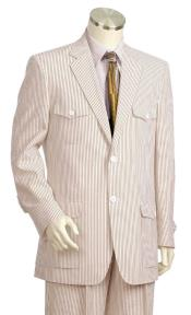 Mens Pinstripe Quad Dual Side Chest Pocket Zoot Suit Brown