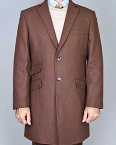 Quarters Length Mens Dress Coat Chestnut Wool Long Jacket Single Breasted