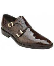 Mens Double MonkStrap Chocolate Genuine World Best Alligator ~ Gator Skin Plain Toe Loafer Shoes