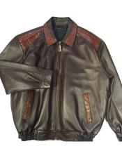 G-Gator - 3001 Chocolate Zipper Closure World Best Alligator ~ Gator Skin/Lamb Bomber Jacket