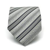 Classic Gray Necktie with Matching Handkerchief - Tie Set