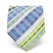 Slim Green/Blue Glen Necktie with Matching Handkerchief - Tie Set