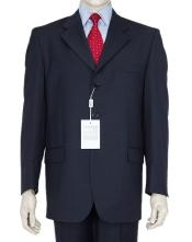 SKU# Z-165BL Classic Navy Blue 3 Button Business Suit w/Double Vent Jacket Super 140