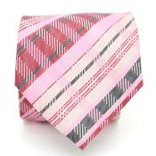 Slim Pink Glen Necktie with Matching Handkerchief - Tie Set