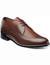 Stacy Adams Mens Brown Classic 1920s Laceup Front Style Woven Print Wingtip Shoes 10 days delivery