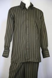 Mens Classic Stripe Casual Two Piece Walking Outfit For Sale Pant Sets Suit Olive 2pc Zoot Suit