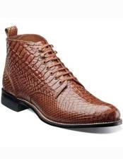 Adams Mens Classic 1920s Tan Anaconda Print Laceup Style Leather Boot