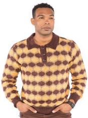 Mens Jacquard Polo Collar Sweater Available in Big And Tall Sizes