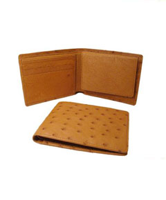 Genuine Exotic Animal Skin Ostrich Wallet - Cognac ID Holder Bifold