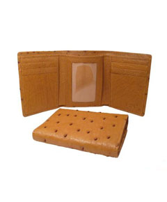 Genuine Exotic Animal Skin Ostrich Wallet - Cognac Trifold