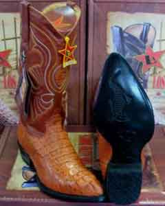 "Calf Skin 1 1/2"" Heel Los Altos Cognac Western Cowboy Boot ~ World Best Alligator"