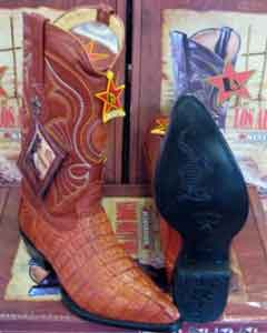 "LEATHER Pull Strap Los Altos 13"" Cognac Smooth HeelWestern Cowboy Boot ~ World Best Alligator"