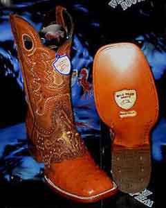 West Genuine Ostrich Square Cognac Rodeo Western Cowboy Boot