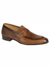 Brand Cognac Genuine Lizard Loafer Shoes