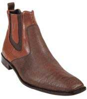 Mens Cognac Genuine Shark Dressy Boot Ankle Dress Style