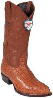 West Cognac J-Toe caiman ~ World Best Alligator ~ Gator Skin Hornback Cowboy Boots