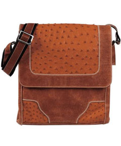 Genuine Exotic Animal Skin Cognac Ostrich Cross Body Bag