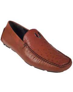 Cognac Full Quill Ostrich Driver Vestigium Driving Shoes slip on Stylish Dress