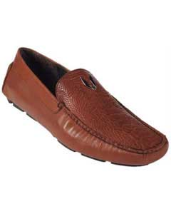 Mens Cognac Genuine Ostrich Leg Driver Vestigium Driving Shoes