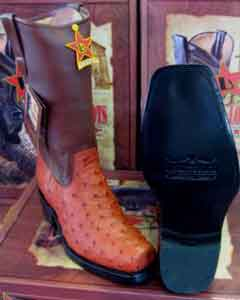 Altos Cognac Genuine Ostrich Western Cowboy Biker Motorcycle Boot