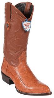 West Cognac Ostrich Leg Cowboy Boots - Botas De Avestruz