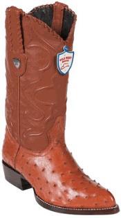 West Cognac Full Quill Ostrich Cowboy Boots - Botas De Avestruz