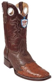 West Cognac Ostrich Wild Rodeo Toe Boots