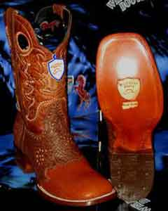 West Square Cognac Genuine Shark Rodeo Western Cowboy Boot