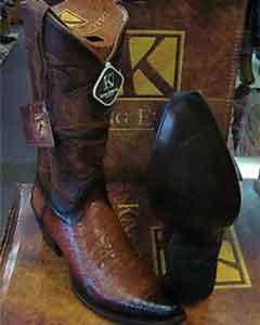 Exotic Cognac Snip Toe Genuine Crocodile Western Cowboy Boot