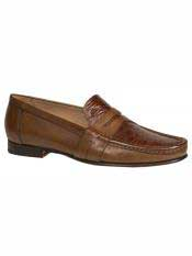 Brand Cognac ~ Tan Genuine Crocodile Loafer Shoes