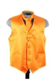 Tuxedo Wedding Vest ~ Waistcoat ~ Waist coat Tie Set Orange