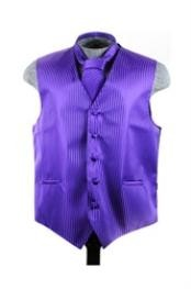 Tuxedo Wedding Vest Tie Set Purple