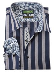 SKU#SM4520 Mens Cotton Jacquard Bold Stripes With Contrast Trimmed Navy Shirt