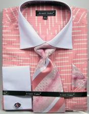 Unique Broken Stripe Pattern Two Tone French Cuff Salmon ~ Coral color Dress Shirt White Collar Big