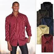 Cotton Blend Stylish Casual Striped Dress Shirt Classic Fit Multi-Color