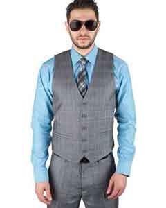 Blend 5 Button Plaid Grey Fashionable Dress Dress Tuxedo Wedding Vest