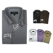 Stylish Cotton Blend Square Button Dress Shirt 6 Colors Style Multi-Color
