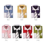 Blend Striped Spread Collar French Cuff Classic Fit White Collar Two Toned Contrast Multi-Color Mens Dress Shirt
