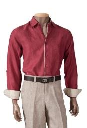 Mens Cranberry Linen Roll-Up Sleeve Collared Shirt