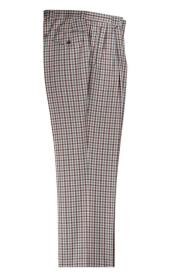 Cream/ Brown/ Green Plaid Pattern Wide Leg Pleated Pants