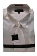 Cheap Sale Mens New Cream Ivory Satin Dress Shirt Tie Combo Shirts